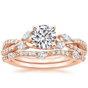 1.70 Ct Round & Marquise Cut Luxe Willow Wedding Ring Sets 14K solid Rose gold