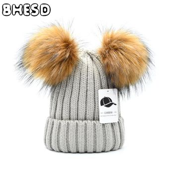 173efa285a3 BHESD 2017 Fake Fur Double Pom Poms Skullies Hat Winter Women Kids Warm  Wool Knitted Beanies