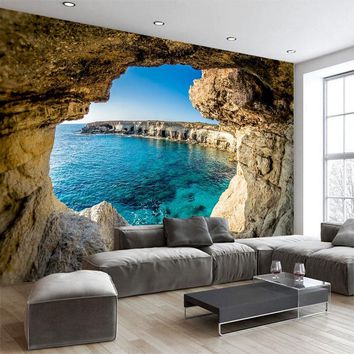 Custom any size 3D wall mural wallpapers Modern fashion Sea outside the cave 3D Perspective Wall Sticker YBZ103