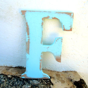 shabby chic wood letters F personalized rustic 8 inc Distressed wooden letter wall hanging nursery wood names