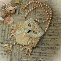 Snowy owl beaded necklace - coin bag with owl.  Necklace Bead Embroidery Art