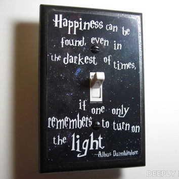 Harry Potter -  Dumbledore Quote Jumbo Light Switch Plate - Happiness Can Be Found