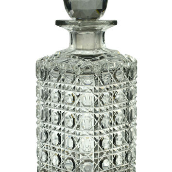 Cut Glass Square Whisky Decanter, Antique English 19th Century