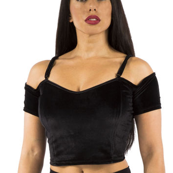Black Velvet Shortsleeve Off the Shoulder Crop Top