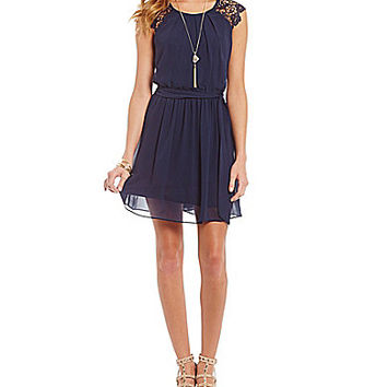 I.N. San Francisco Crochet Cap Sleeves Dress | Dillards.com