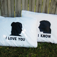 I Love You/ I Know Couples Pillow Case Set. Han and Leia Standard Size Pillow Case Set.