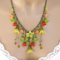 Statement Lucite Flower Necklace Red Crystal Yellow Long Handmade