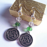 Celtic knot green and white beaded dangle earrings