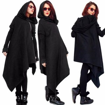 Women Poncho Hooded Sweatshirts Black Gown Mantle Hoodies Fashion Jacket long Sleeves Cloak Woman's Irregular Coats C77501A