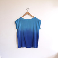 SALE // Ombre Silk Shirt.  Blue on Blue // ready to ship