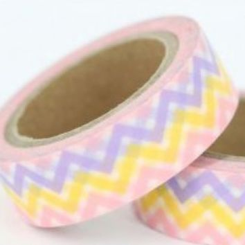 Pink lavender & yellow chevron 15mm washi tape / 5M