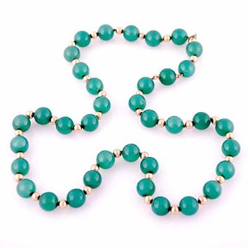 "Vintage Emerald Green Chalcedony Beads Necklace  14K Clasp 22"" Long"