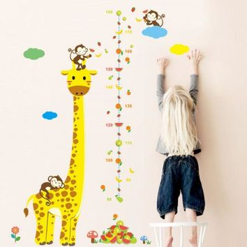 Animal Cartoon Giraff Monkey Height Chart Wall Sticker Nursery Growth Measurement Ruler Removable Decal Wallpaper Kid Home Decor
