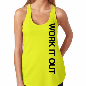 Work it Out  Workout Tank Top. Neon Yellow. Racerback Crossfit Tank Top. Running Tank