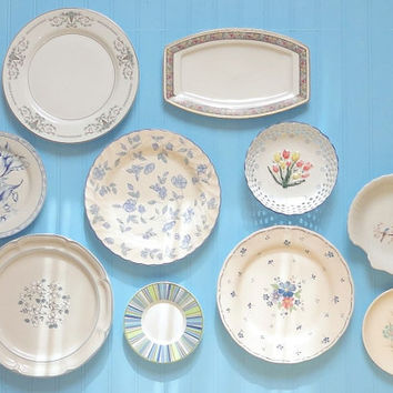 Wall of Vintage Plates with Shades of Blue