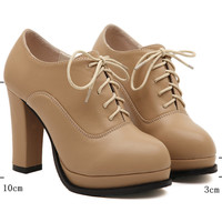 Mary Janes Oxford shoes Women Pumps European PU Leather Ladies High Heels 2016 New Fashion Womens Shoes