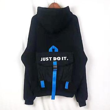 NIKE Autumn And Winter New Fashion Bust Embroidery Letter Hook And Back Letter Print Women Men Hooded Long Sleeve Sweater Black