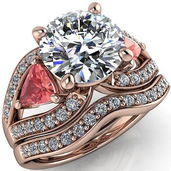 Kassandra Round Moissanite 4 Prong Trillion Padparadscha Sapphire Side Split Shank Accent Engagement Ring