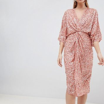 ASOS DESIGN Midi Sequin Kimono Dress at asos.com