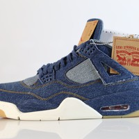 BC DCCK Nike Air Jordan X Levi's Retro 4 NRG Dark Blue Denim Game Red Gum A02571-401 (NO Codes)