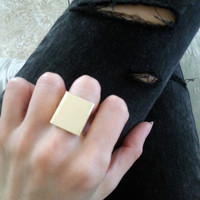 Box Ring in Your Choice of Gold Or Silver  - Square statement ring
