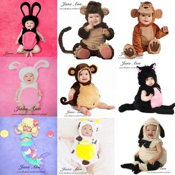 Jane Z Ann Baby photography accessories infant toddler monkey sheep cat rabbit mermaid costume 4-12month photo studio shoot prop
