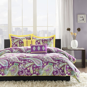 Full / Queen Comforter Set Purple Yellow Green Paisley Pattern