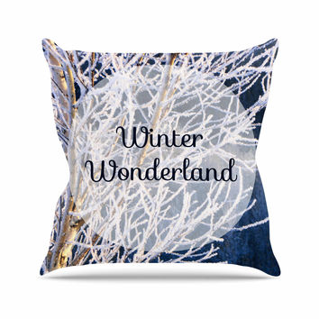 "NL Designs ""Winter Wonderland"" White Blue Throw Pillow"