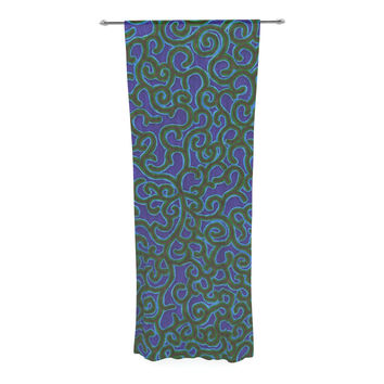 "NL Designs ""Swirling Vines"" Blue Green Decorative Sheer Curtain"