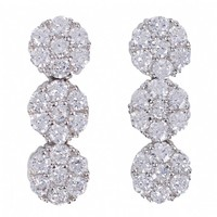 Brenna's CZ Triple Flower Inspired Round Drop Earrings