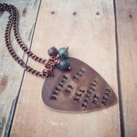 Metal Guitar Pick Black Dog Lyrics Necklace, Led Zeppelin Vintaj Hand Stamped