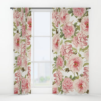 old fashioned peonies Window Curtains by Sylvia Cook Photography