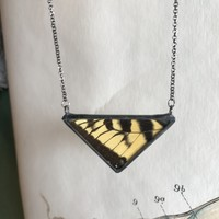 Large Tiger Swallowtail Butterfly Triangle Necklace