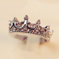 Vintage Crystal Princess Crown Ring - 2