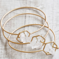 Celeste Crystal Open Bangled Bracelet - Gold