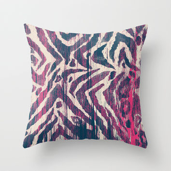 ikat zebra navy Throw Pillow by Crystal Walen