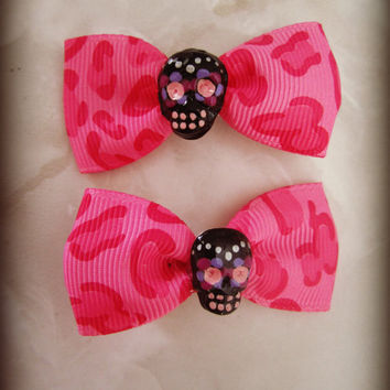 Pink Leopard Cheetch Haunted Hair Candy Skull Clips