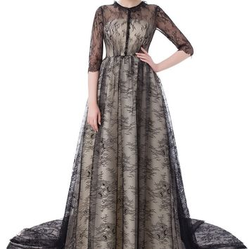 SSYFashion New Evening Dress The Bride Retro Elegant Black Lace Half Sleeved Sweep Train Party Gown Custom Prom Formal Dresses