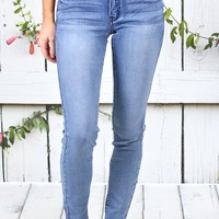 Mid-Rise Whiskered Skinny Jeans {Md. Wash}