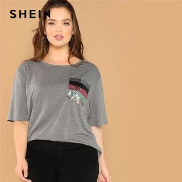 SHEIN Plus Size Striped Sequin Pocket Patched O Neck Half Sleeve c56871274356
