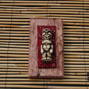 Mini War God Tiki Plaque with Purple jewel from original Randotti mold #707