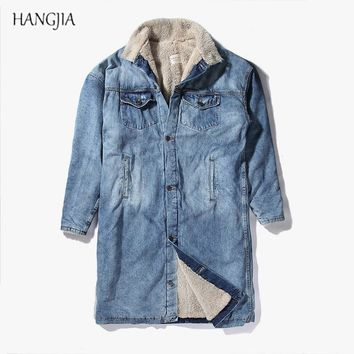 Streetwear Sherpa Cashmere Denim Jacket Coats Winter Tide Loose Long Section Thick Men and Women Warm Hiphop Urban Clothing