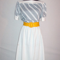 Vintage 1980s Dress Grey and White Stripes
