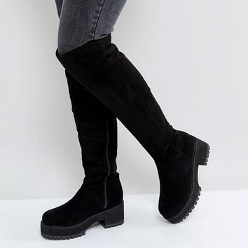 ASOS KITSCH Wide Fit Chunky Over The Knee Boots at asos.com