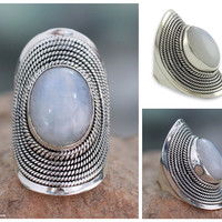 Rainbow moonstone cocktail ring, 'Jaipur Mist'