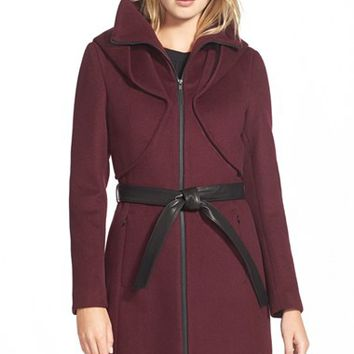 Women's Soia & Kyo 'Arya' Hooded Wool Blend Coat with Belt,