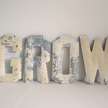 "Antique Marquee Chippy Metal Letters ""GROW"" Salvage theater Architectural"