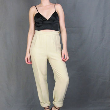MOSCHINO High Waist Pants Khaki Trousers Slim Fit Pleated Pants Minimalist Classic Taupe Riding Pants Vintage Designer Pants (S/M)
