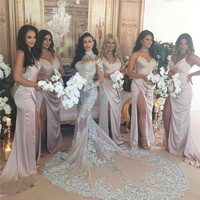 Luxury Dubai Sexy High Neck Mermaid Wedding Dresses 2017 with Crystal Applique Long Sleeves Bridal Gown Vestido de Noiva LH02