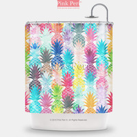 Colorful Watercolor Painting Pattern Pineapple Shower Curtain Home & Living 202